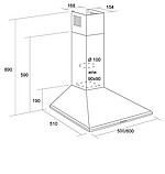 Pyramida Basic casa 60-K white (600 мм) купольна кухонна витяжка, з декоративним кожухом, біла емаль, фото 4