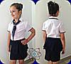 Блузка на девочку с отделкой горох и галстуком  632  mari