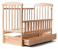 Детская кроватка из ясеня светлая (с маятником и ящиком)боковина ОТКИДНАЯ