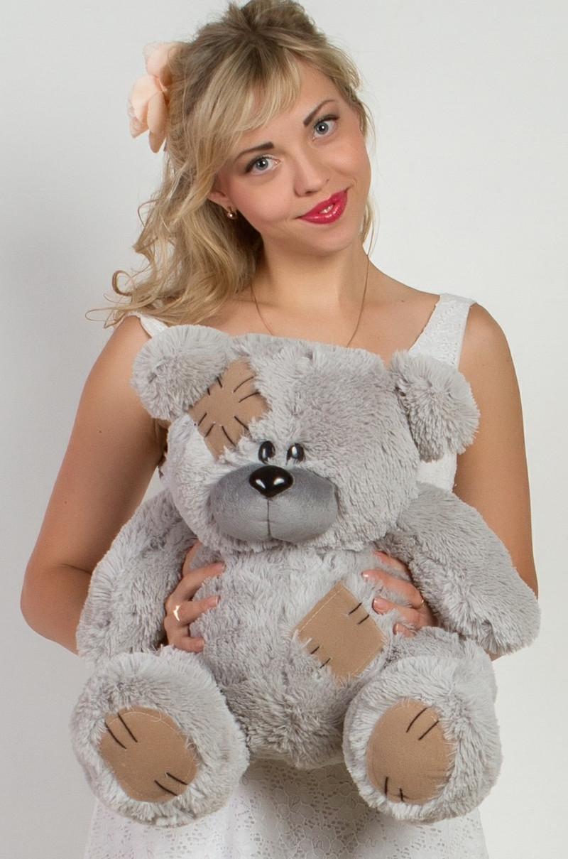 Мишка Тедди плюшевый серый 55 см