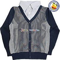 Батник кашемировый в полоску с имитацией рубашки для мальчика от 7 до 10 лет (4536)