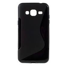 Чехол накладка силиконовый TPU S Shape для Samsung Galaxy J3 J300 черный