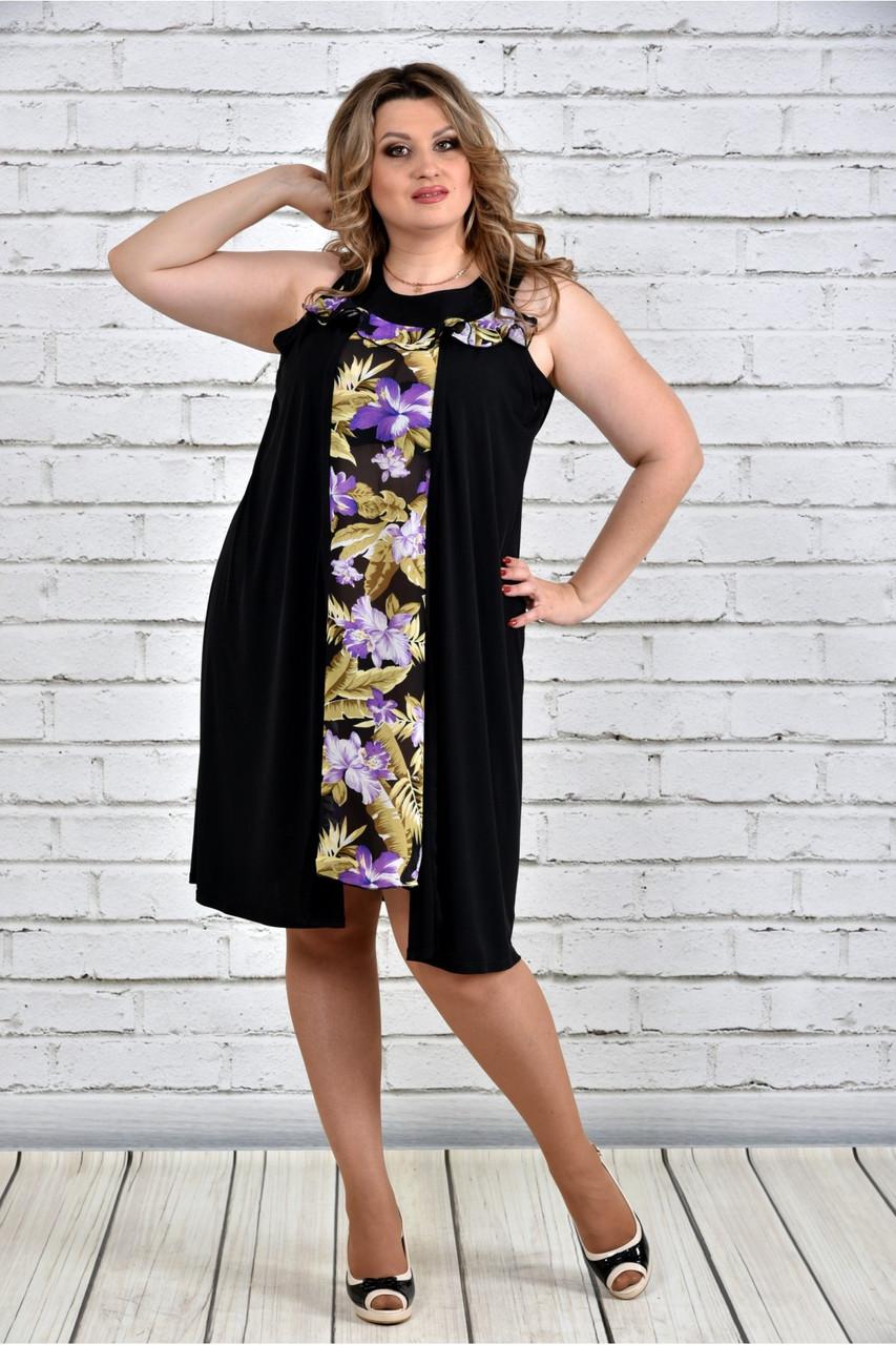 Женское платье-туника на лето 0318 цвет золотые цветы до 74 размера / больших размеров для полных женщин