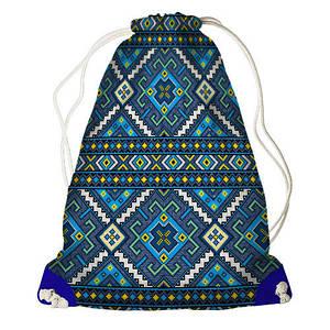 Рюкзак мешок с принтом Синяя вышиванка