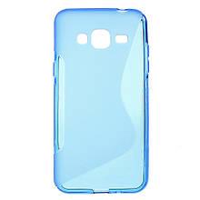 Чехол накладка силиконовый TPU S Shape для Samsung Galaxy J3 J300 синий
