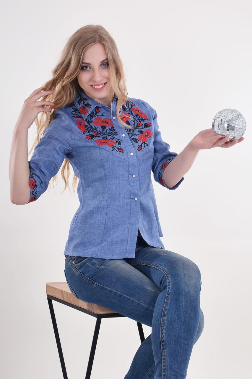 Праздничная блуза Маковая роскошь синяя  с красно-черной вышивкой