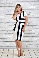 Женское приталенное платье 0304 цвет белый с синим до 74 размера / больших размеров для полных женщин
