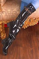 Сапоги  высокие низкий ход сверху ремешек клепки черные р.36,37,38