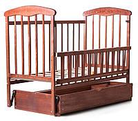 Детская кроватка из ясеня темная (с маятником и ящиком)боковина ОТКИДНАЯ, фото 1