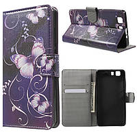 Чехол книжка для Doogee X5 / X5 Pro боковой с отсеком для визиток, Фиолетовая бабочка