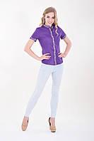 Молодежная вышитая блуза насыщенного фиолетового цвета воротничок стойка