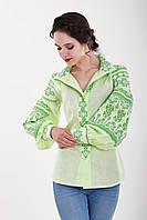 Элегантная льняная блуза вышиванка модного кроя с роскошным традиционным орнаментом