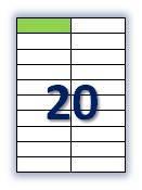 Этикеток на листе А4: 20 шт. Размер: 105х29,7 мм.