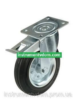 Колесо 470200 с поворотным кронштейном и тормозом (диаметр 200 мм)