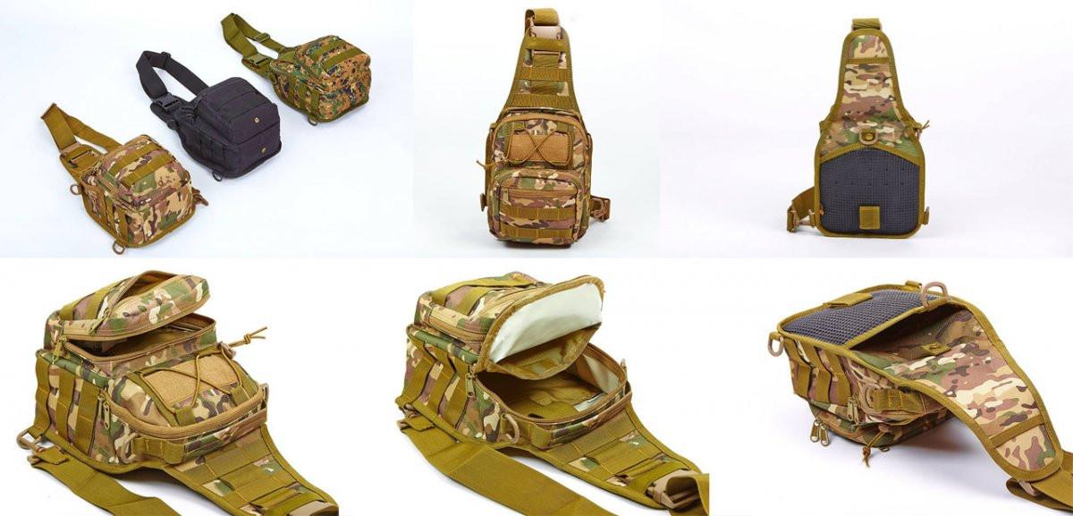 Рюкзак-сумка тактический однолямочный со стропами MOLLE