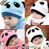 """Детская шапка с шарфом - """"Panda"""", фото 1"""