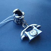 Шарм-подвеска серебряная Телефон для браслета Пандора, фото 2