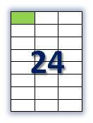 Этикеток на листе А4: 24 шт. Размер: 70х37,1 мм.