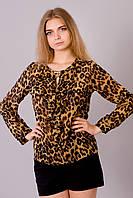 Шифоновая женская блузка с леопардовым принтом