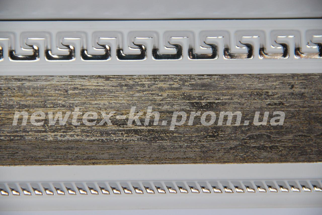 Декоративная лента Греция 65 мм Бронза с рисунком хром на белом фоне к потолочному карнизу усиленному СМ