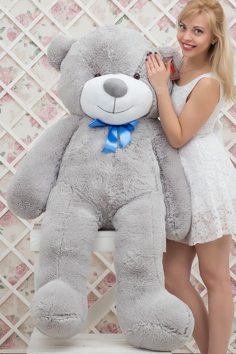 Медведь большой плюшевый Серый 160 см