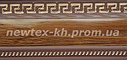 Декоративная лента Греция 65 мм Орех с золотым рисунком на коричневом фоне к потолочному карнизу  СМ