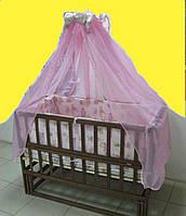 """Детская кроватка  из ольхи темная с маятником БЕЗ ящика  """"Максим"""" боковина ОТКИДНАЯ"""
