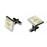 Запонки Giorgio Armani, квадратные, серебристые