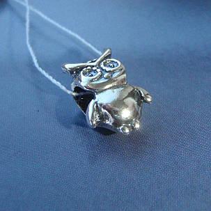 Шарм серебряный Сова для браслета Пандора, фото 2