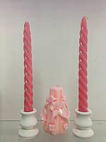 """Набор свадебных свечей """"Семейный очаг"""" SRN-56(Цвет розовый"""