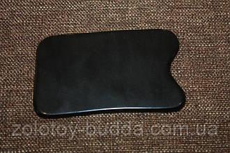 Скребок Гуаша рог буйвола прямоугольный черный