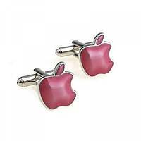 "Запонки ""Знак Apple"", серебристые с розовым"