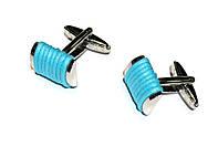 """Запонки """"Голубая нитка"""", серебристые, прямоугольные"""