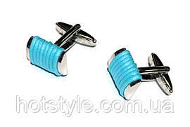 Запонки Голубая нитка, серебристые, прямоугольные