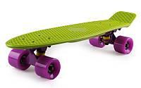 Пенни борд 22' Fish - Оливковый с фиолетовыми колёсами