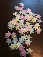 Интерьерные наклейки стикеры звездочки  на стену, светящиеся звезды в темноте (004) Разноцветные звездочки