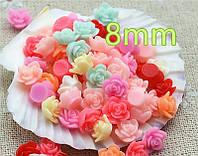 Полубусины (3 шт. микс) розы нежные Пластик 8мм  (товар при заказе от 500грн)