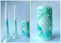 Свечи свадебные, набор 3 шт. Цвет мяты.