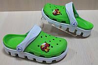 Детские двухцветные кроксы зеленые, детская летняя обувь тм Виталия Crocs р. 23-24