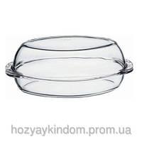 Стеклянная кастрюля овальная 2л Borcam