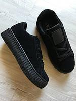 Кроссовки женские на платформе, черные