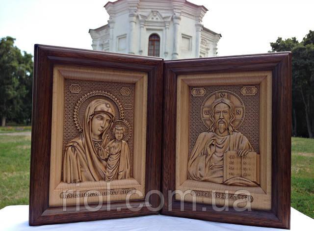 резная деревянная икона венчальная пара