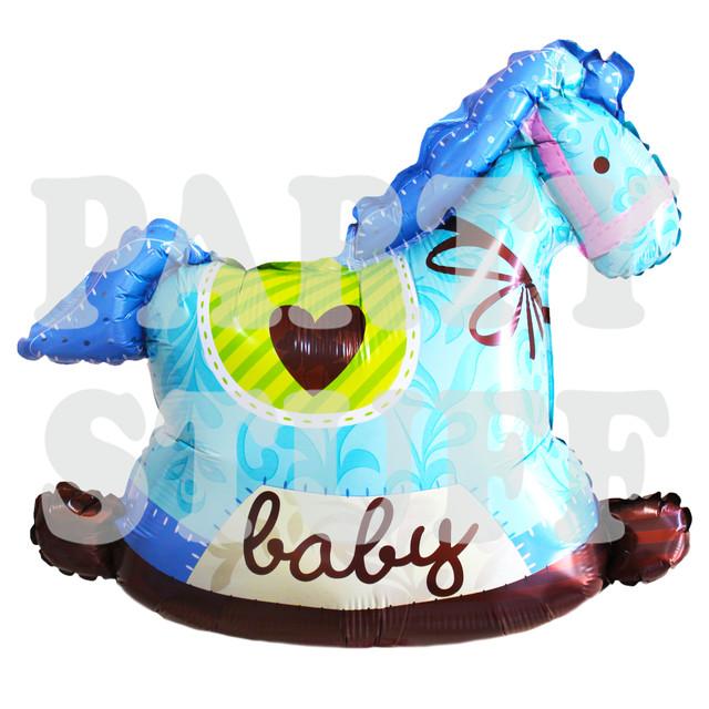 голубой фольгированный шар лошадка для новорожденного
