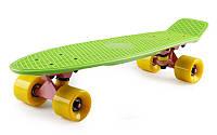 Пенни борд 22' Fish - Зелёный с желтыми колёсами розовая подвеска