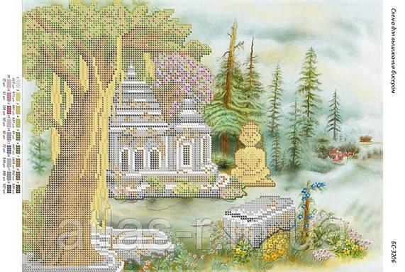 """Схема для частичной зашивки бисером """"Храм Будды"""""""