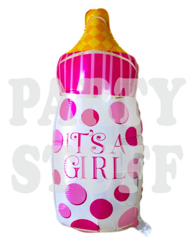 фольгированныая бутылочка с соской розовая