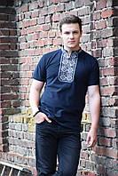Стильная мужская футболка вышиванка из трикотажа кукуруза с серым орнаментом