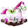 Шар фольгированный Лошадка розовая, 68см