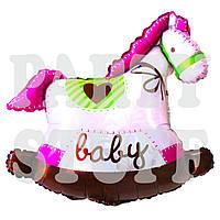 Шар фольгированный Лошадка розовая для новорожденной