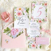 """Набор свадебной полиграфии """"Пионовый сад"""" пригласительная в конверте"""